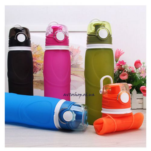 Складная силиконовая спортивная бутылка для воды 750 мл