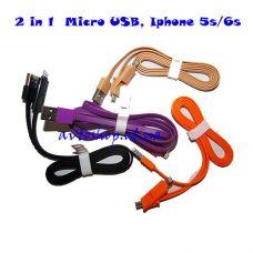 USB Кабель 2 in 1 micro USB и Iphone 5/6/6s
