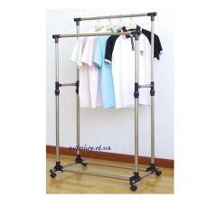Телескопическая стойка вешалка для одежды Double Pole Clothes Horse
