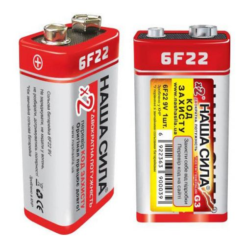 Батарейки Наша Сила - X3 / G3 Солевые 6F22 Крона 9V