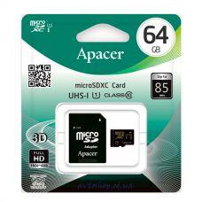 Карта памяти 64GB Apacer micro SDHC UHS-1 с адаптером SD