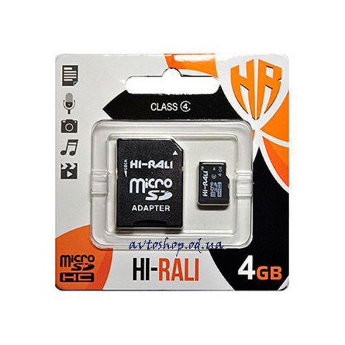 Карта памяти 4GB HI-RALI micro SDHC class 4 с адаптером SD