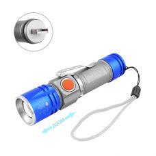 Фонарь Police BL-517-XPE, встроенный аккумулятор, ЗУ USB, zoom, зажим, ремешок на руку