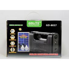 Автономная система освещения с солнечной батареей GDlite GD 8038 / с аккумулятором, солнечной батарей, 4 подвесными лампочки , функцией зарядки