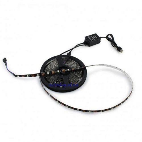 Светодиодная LED лента 5050 RGB 5V со звуковым котроллером управления и пультом