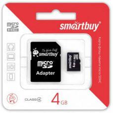 Карта памяти 4GB Smartbuy micro SDHC class 10 с адаптером SD