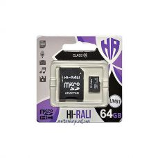 Карта памяти Hi-Rali microSDHC, 64Gb, Class10 UHS-3,SD адаптер