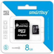 Карта памяти 8GB Smartbuy micro SDHC class 4 с адаптером SD