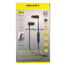 Наушники вакуумные с микрофоном AWEI AK4 Bluetooth