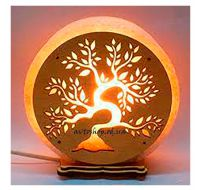 Соляной светильник круг Дерево-Бонсай