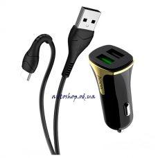 Автомобильное зарядное устройство HOCO Z31 QC 3.0 3.4A, 2 USB с кабелем TYPE-C