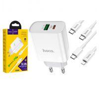 Сетевое зарядное устройство Hoco C80A USB Type-C + USB Type-C/Lightning Cable X QC3.0